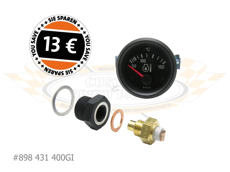 Oil Temp Sender with Type-4 Adapter and Gauge (Offers