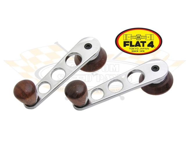 Window Cranks chromed/wood '68- Flat-4